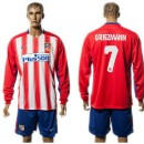 Atlético De Madrid Camisas De Futebol Griezmann Manga Longa 2015/2016 I Masculina