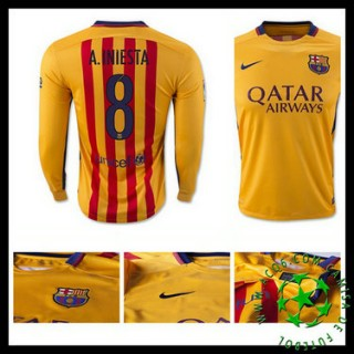 Uniforme De Futebol Barcelona (8 A.Iniesta) Manga Longa 2015-2016 Ii Masculina