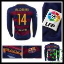 Camisas Futebol Barcelona (14 Mascherano) Manga Longa 2015-2016 I Masculina