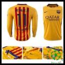 Camisas De Futebol Barcelona (11 Neymar Jr) Manga Longa 2015 2016 Ii Masculina