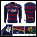 Camisas De Futebol Barcelona Manga Longa 2015-2016 I Masculina