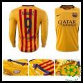 Camisas Du Futebol Barcelona (9 Suarez) Manga Longa 2015-2016 Ii Masculina