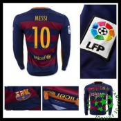 Uniformes Futebol Barcelona (10 Messi) Manga Longa 2015/2016 I Masculina