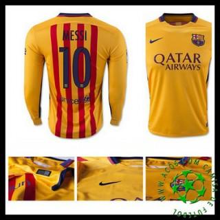 Uniforme Futebol Barcelona (10 Messi) Manga Longa 2015-2016 Ii Masculina