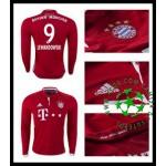 Camisa De Futebol Bayern Munich Lewandowski Manga Longa 2016 2017 I Masculina