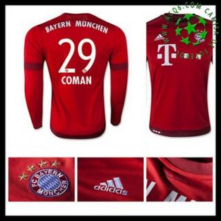 Camisa De Futebol Bayern München (29 Coman) Manga Longa 2015 2016 I Masculina