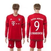 Bayern München Camisa Lewandowski Manga Longa 2015-2016 I Masculina