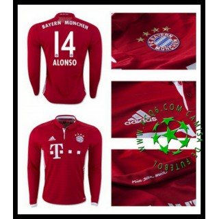 Camisa Du Futebol Bayern Munich Alonso Manga Longa 2016-2017 I Masculina