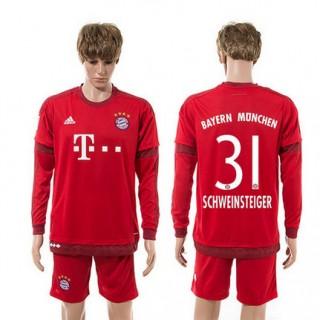 Bayern München Camisas Futebol Schweinsteiger Manga Longa 2015/2016 I Masculina