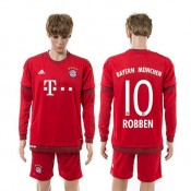 Bayern München Uniforme De Futebol Robben Manga Longa 2015-2016 I Masculina