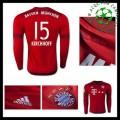 Camisa De Futebol Bayern München (15 Kirchhoff) Manga Longa 2015/2016 I Masculina