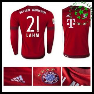 Camisa Futebol Bayern München (21 Lahm) Manga Longa 2015-2016 I Masculina