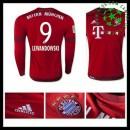 Camisa Futebol Bayern München (9 Lewandowski) Manga Longa 2015/2016 I Masculina