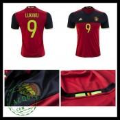 Camisa Du Futebol (9 Lukaku) Bélgica Autêntico I Euro 2016 Masculina