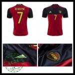 Camisas (7 De Bruyne) Bélgica Autêntico I Euro 2016 Masculina
