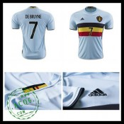 Camisa De Futebol (7 De Bruyne) Bélgica Autêntico Ii Euro 2016 Masculina