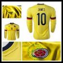 Camisa Du Futebol Colômbia (10 James) Manga Longa 2015 2016 I Masculina