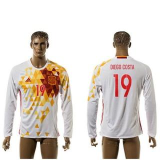 Espanha Camisa Futebol Diego Costa Manga Longa 2015/2016 Ii Masculina