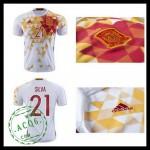 Uniformes De Futebol (21 Silva) Espanha Autêntico Ii Euro 2016 Masculina