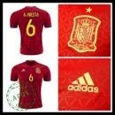 Camisa Futebol (6 A.Iniesta) Espanha Autêntico I Euro 2016 Masculina