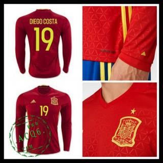 Camisas Futebol (19 Diego Costa) Espanha Autêntico I Manga Longa Euro 2016 Masculina