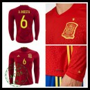 Camisas Futebol (6 A.Iniesta) Espanha Autêntico I Manga Longa Euro 2016 Masculina