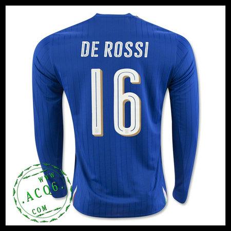 ff54b169bf8cb Camisa De Futebol Itália (16 DE ROSSI) Manga Longa Euro 2016 I MASCULINA