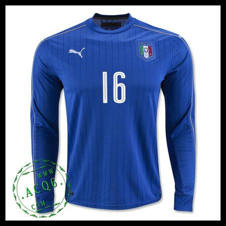 44b7a533b01e6 Itália Camisa De Futebol (16 DE ROSSI) Manga Longa Euro 2016 I MASCULINA