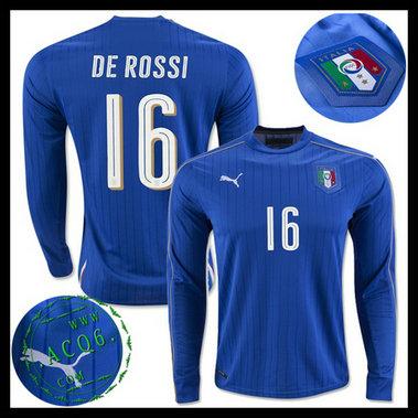Camisa De Futebol Manga Longa (16 DE ROSSI) Itália MASCULINA Euro 2016 I 80dc8fdcd4b41