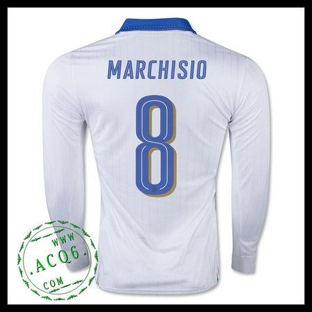 503a9fa41edea Camisa De Futebol Itália (8 MARCHISIO) Manga Longa Euro 2016 II MASCULINA