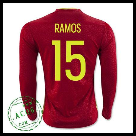 ee6edb93c8 Uniforme De Futebol Espanha (15 RAMOS) Manga Longa Euro 2016 I MASCULINA