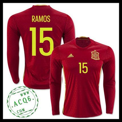 8c0495df32 Uniforme De Futebol Manga Longa (15 RAMOS) Espanha MASCULINA Euro 2016 I