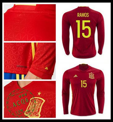 061847582e Uniforme De Futebol (15 Ramos) Espanha Autêntico I Manga Longa Euro ...