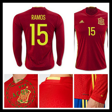 5213cf0056 Uniforme De Futebol Manga Longa (15 RAMOS) Espanha MASCULINA Euro 2016 I
