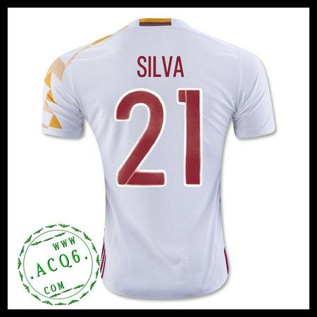 Uniformes De Futebol (21 Silva) Espanha Autêntico Ii Euro 2016 ... 8f26fcd08b5ec