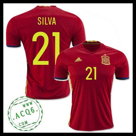 Uniforme De Futebol (21 Silva) Espanha Autêntico I Euro 2016 ... f05ffc77f115d