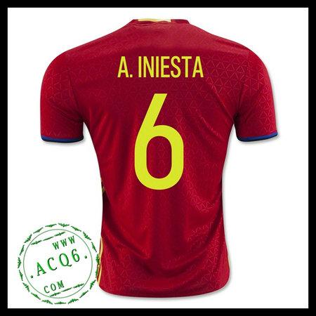 8830c92cba5cf Camisa Futebol (6 A.Iniesta) Espanha Autêntico I Euro 2016 Masculina ...