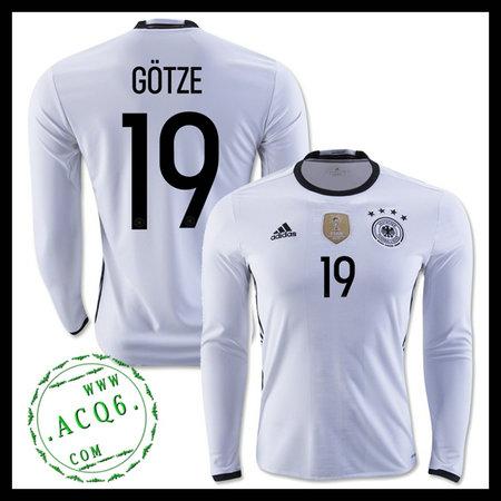 Camisas (19 Gotze) Alemanha Autêntico I Manga Longa Euro 2016 ... 4837a3eb46940