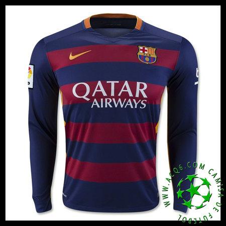 cd308cc2a2 Camisa De Futebol Barcelona (11 NEYMAR JR) Manga Longa 2015-2016 I MASCULINA