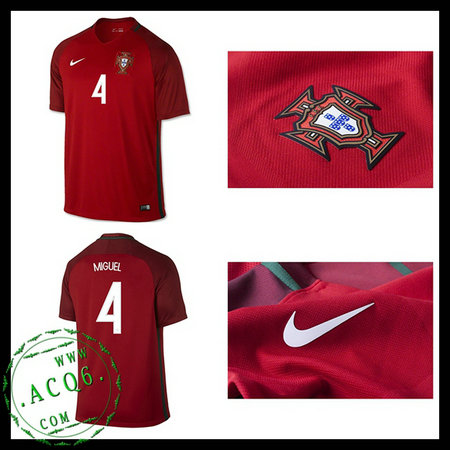 Camisa De Futebol MIGUEL Portugal Autêntico I Euro 2016 2017 MASCULINA 3add2fe0fa427