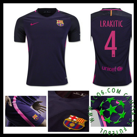 Make Her Uniformes De Futebol I.RAKITIC Barcelona 2016 2017 II MASCULINA