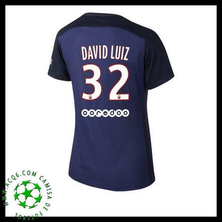 Camisa De Futebol Paris Saint Germain DAVID LUIZ 2015 2016 I FEMININA 2e083eb909d36