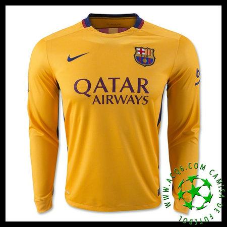 Camisa De Futebol Barcelona (3 PIQUE) Manga Longa 2015 2016 II MASCULINA 687fc7cabd122