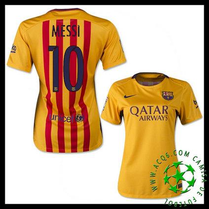 f4d3a7103f Camisa Futebol Barcelona (10 Messi) 2015 2016 Ii Feminina ...