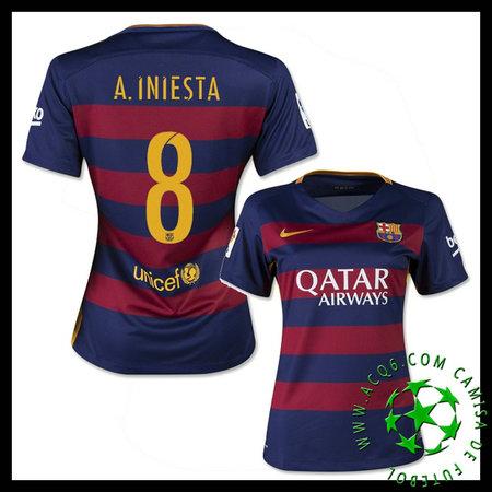 dd5703c2f0 Camisa Futebol Barcelona (8 A.Iniesta) 2015-2016 I Feminina ...