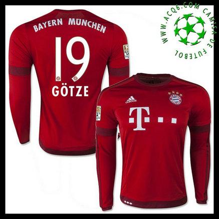 Camisa Futebol Bayern München (19 GOTZE) Manga Longa 2015 2016 I MASCULINA 7c545cfd9867d