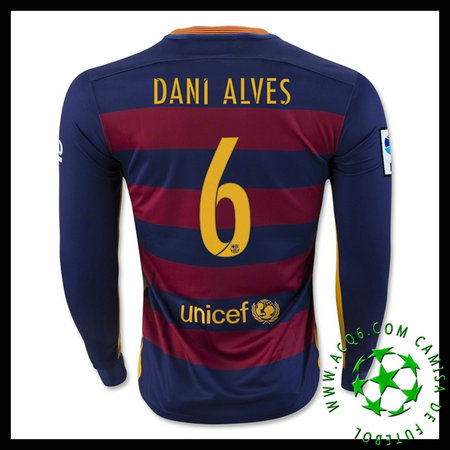 951223dc82 Camisas De Futebol Barcelona (6 DANI ALVES) Manga Longa 2015-2016 I  MASCULINA