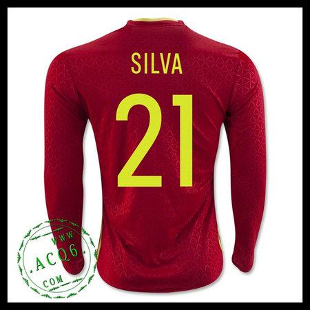 Uniforme Futebol Espanha (21 SILVA) Manga Longa Euro 2016 I MASCULINA 1c5961652daca