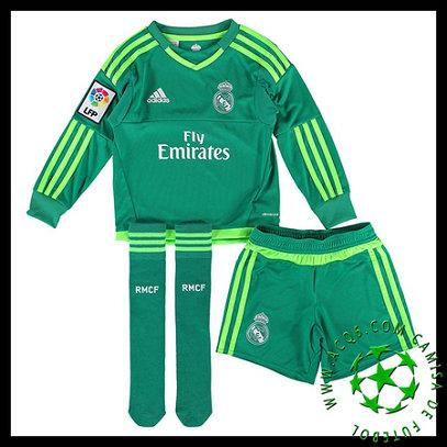 f1e140ab8032e Camisa De Futebol Real Madrid Manga Longa Goleiro 2015 2016 II INFANTIL