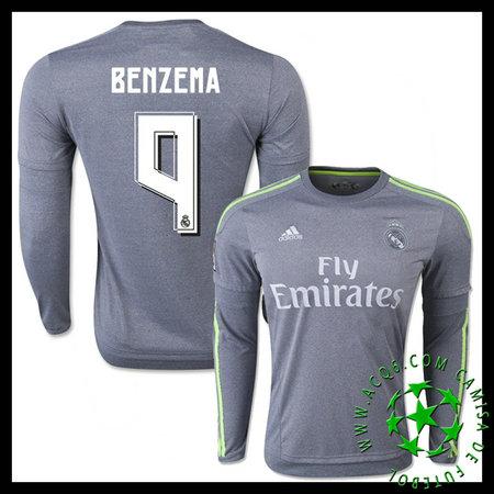 8842e1fe54 Camisa Futebol Real Madrid (9 BENZEMA) Manga Longa 2015-2016 II MASCULINA
